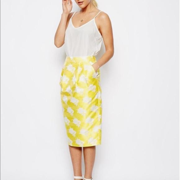 ASOS Dresses & Skirts - ASOS Textured Yellow Midi Skirt